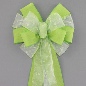 Daisy Green Linen Spring Easter Bow - Package Perfect Bows