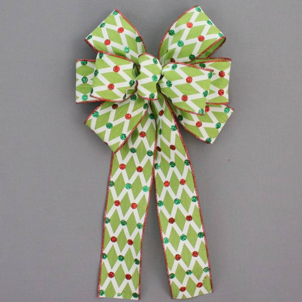 Lime Lattice Glitter Dot Christmas Bow - Package Perfect Bows - 1