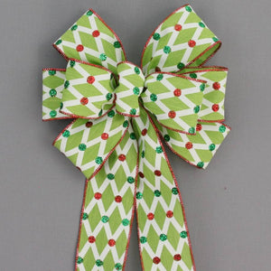Lime Lattice Glitter Dot Christmas Bow - Package Perfect Bows