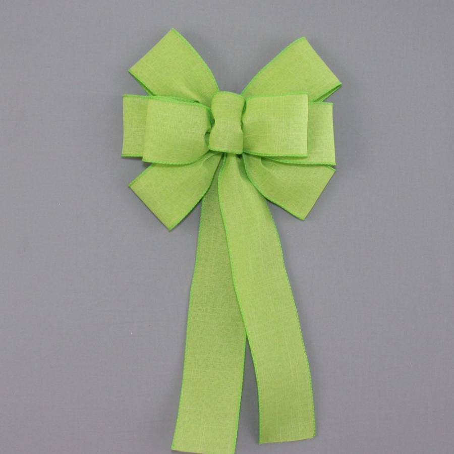 Lime Green Rustic Linen Wreath Bow - Package Perfect Bows