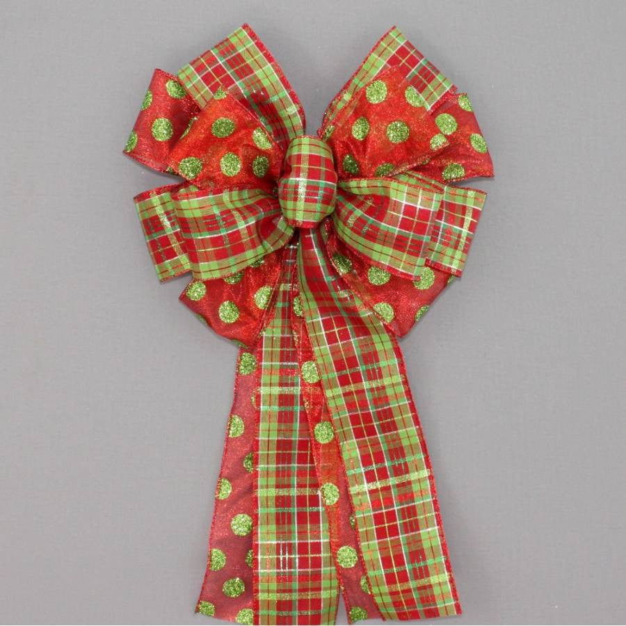 Festive Dot Plaid Christmas Wreath Bow