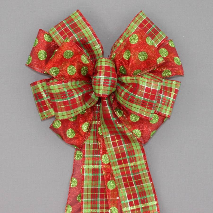 Festive Dot Plaid Christmas Wreath Bow - Package Perfect Bows