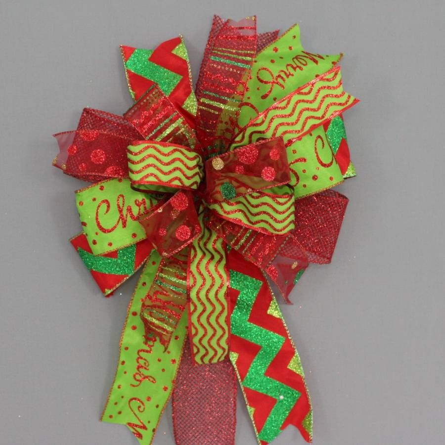 Funky Red Lime Green Chevron Christmas Bow - Package Perfect Bows - 1