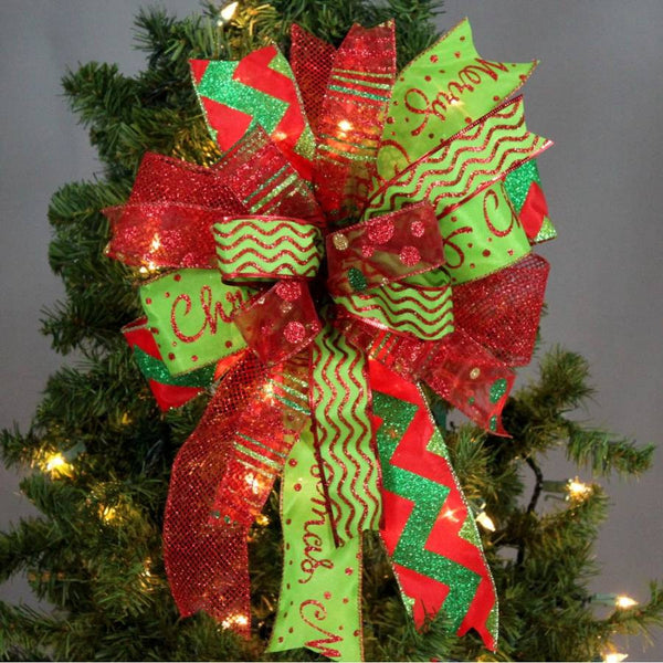 Funky Red Lime Green Chevron Christmas Bow Whimsical