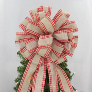 Linen Gingham Edge Christmas Tree Topper Bow - Package Perfect Bows