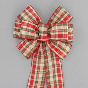 Red Green Lodge Plaid Christmas Bow - Package Perfect Bows