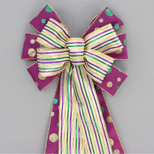 Metallic Stripe Dot Mardi Gras Bow - Package Perfect Bows