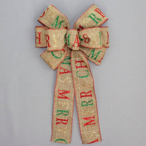 Merry Christmas Sparkle Script Rustic Wreath Bow - Package Perfect Bows