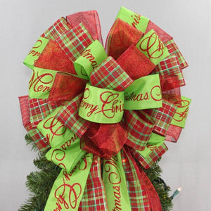 Merry Christmas Plaid Christmas Tree Bow Topper - Package Perfect Bows