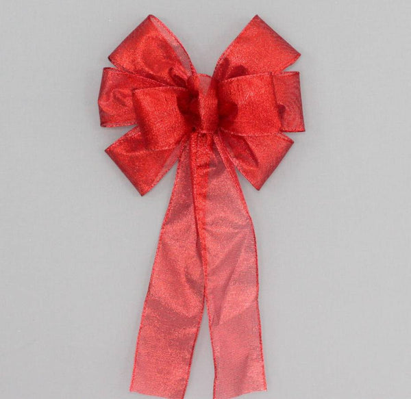 Red Metallic Christmas Holiday Bow - Package Perfect Bows - 1