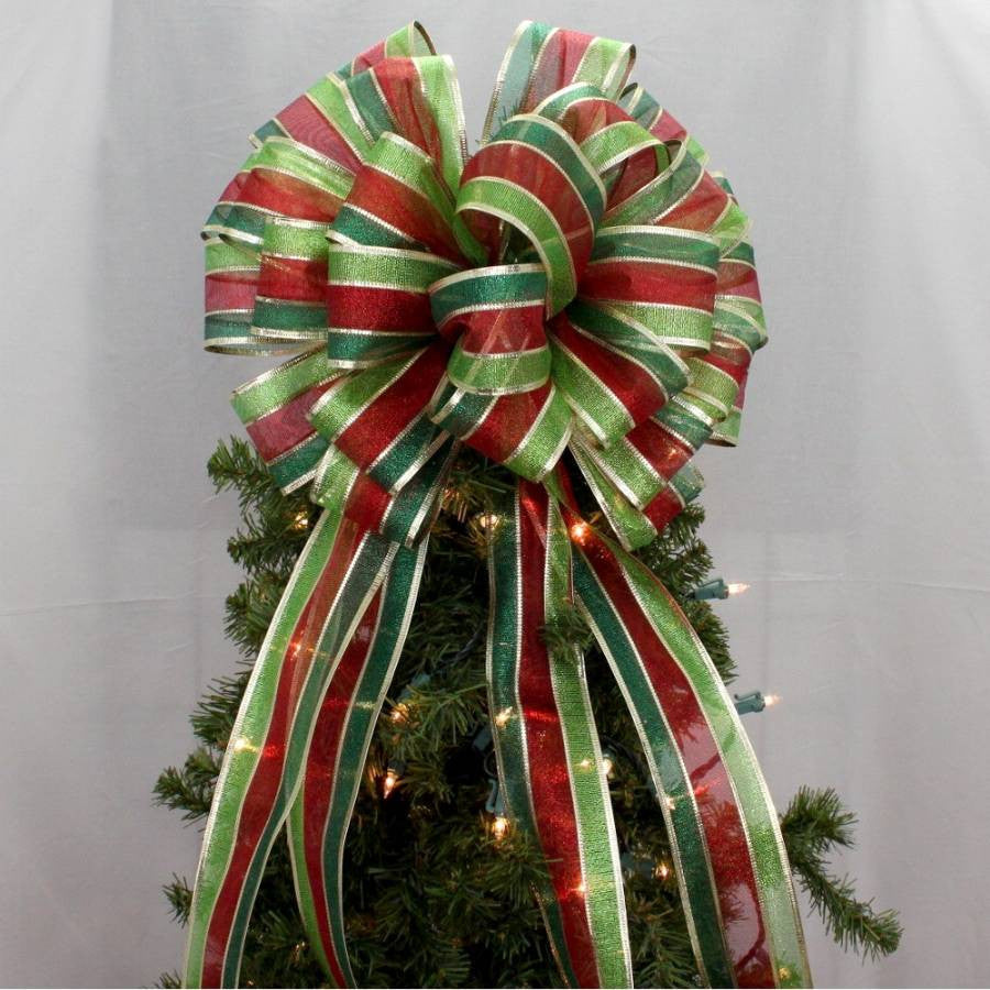 Metallic Stripe Christmas Tree Topper Bow - Package Perfect Bows - 2