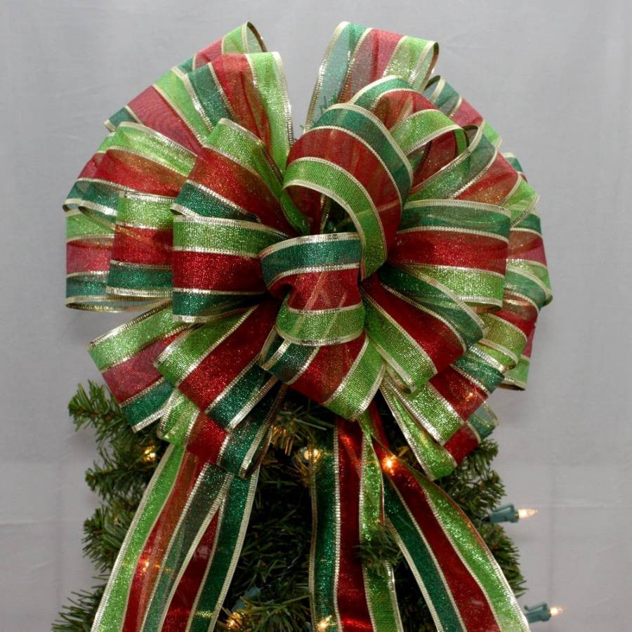Metallic Stripe Christmas Tree Topper Bow - Package Perfect Bows - 1