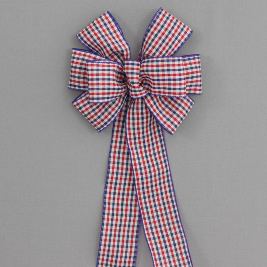 Patriotic Check Wire Edge Bow - Package Perfect Bows - 2