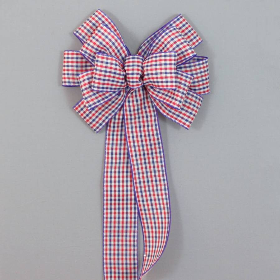 Patriotic Check Wire Edge Bow - Package Perfect Bows - 5
