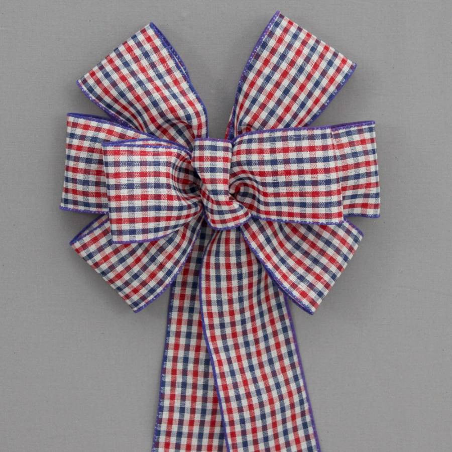 Patriotic Check Wire Edge Bow - Package Perfect Bows - 1