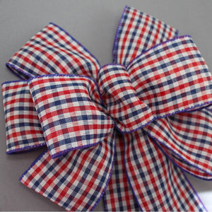 Patriotic Check Wire Edge Bow - Package Perfect Bows - 3