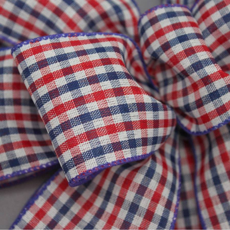 Patriotic Check Wire Edge Bow - Package Perfect Bows - 4
