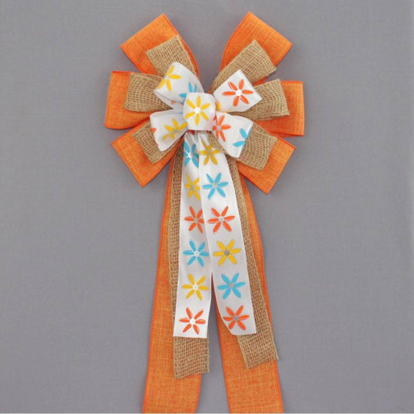 Modern Floral Orange Linen Burlap Bow
