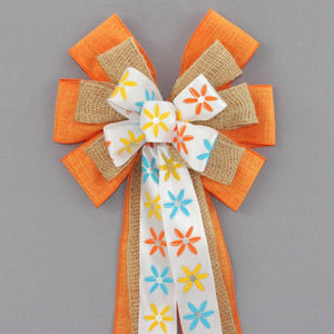 Modern Floral Orange Linen Burlap Bow - Package Perfect Bows