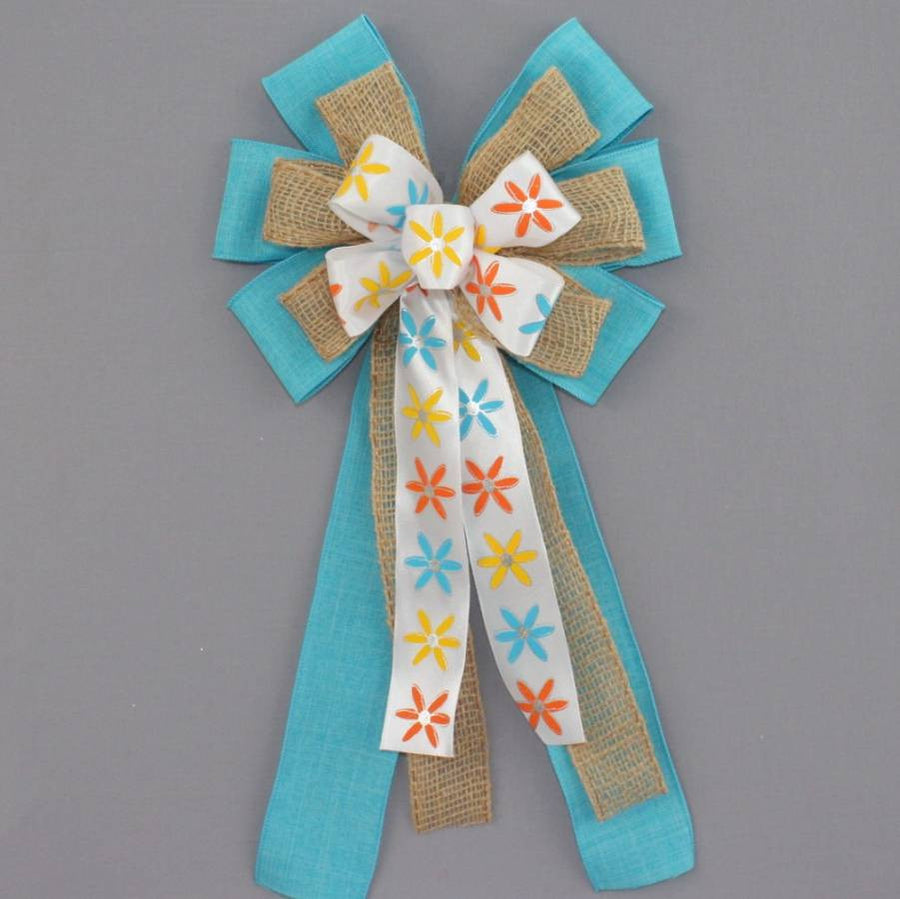 Modern Floral Turquoise Linen Burlap Bow - Package Perfect Bows