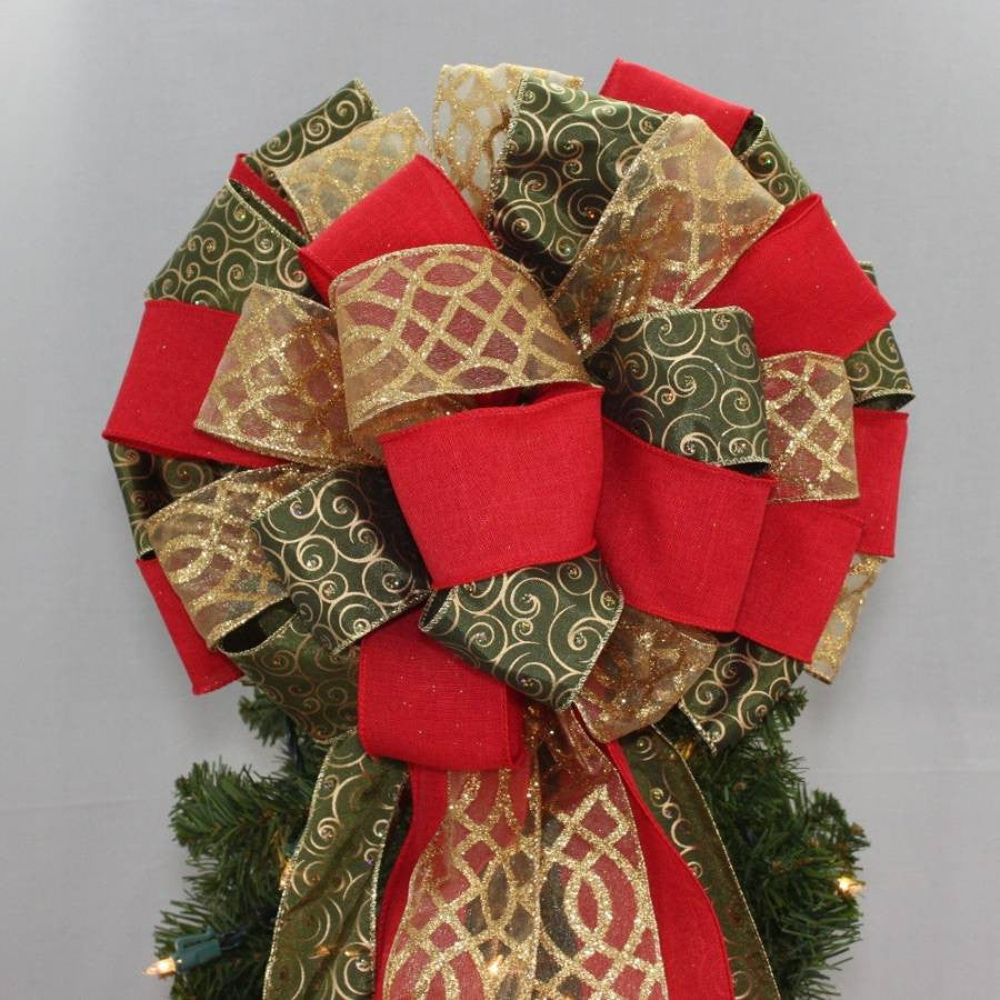 Moss Green Swirl Red Rustic Tree Bow Topper 13 Wide Package