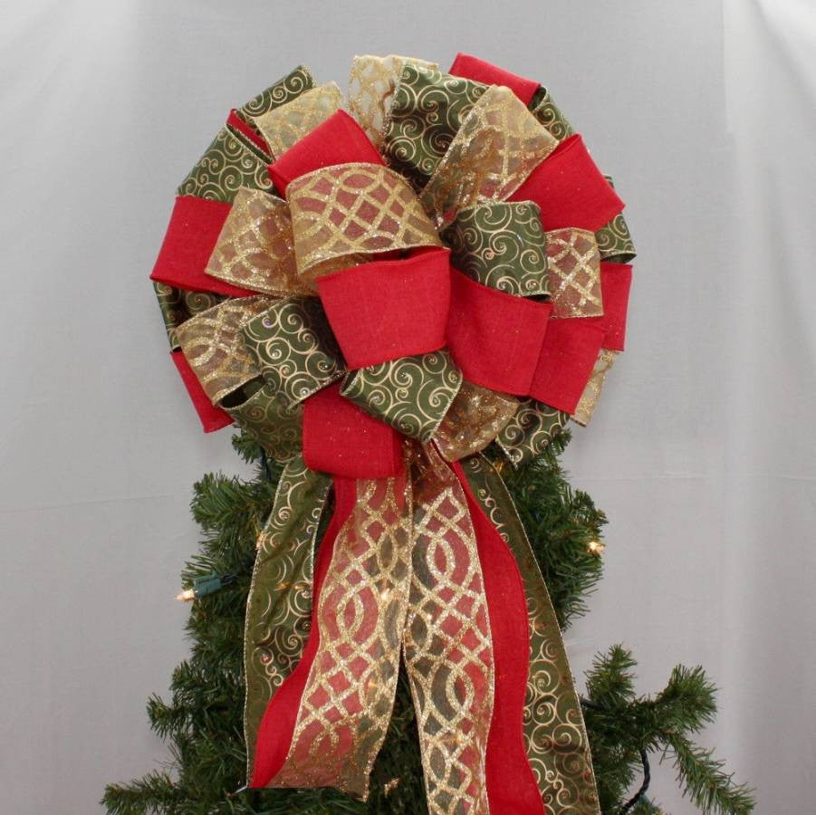 Christmas Tree Bows Red.Moss Green Swirl Red Rustic Tree Bow Topper