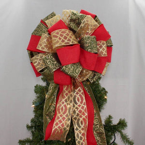 Moss Green Swirl Red Rustic Tree Bow Topper - Package Perfect Bows