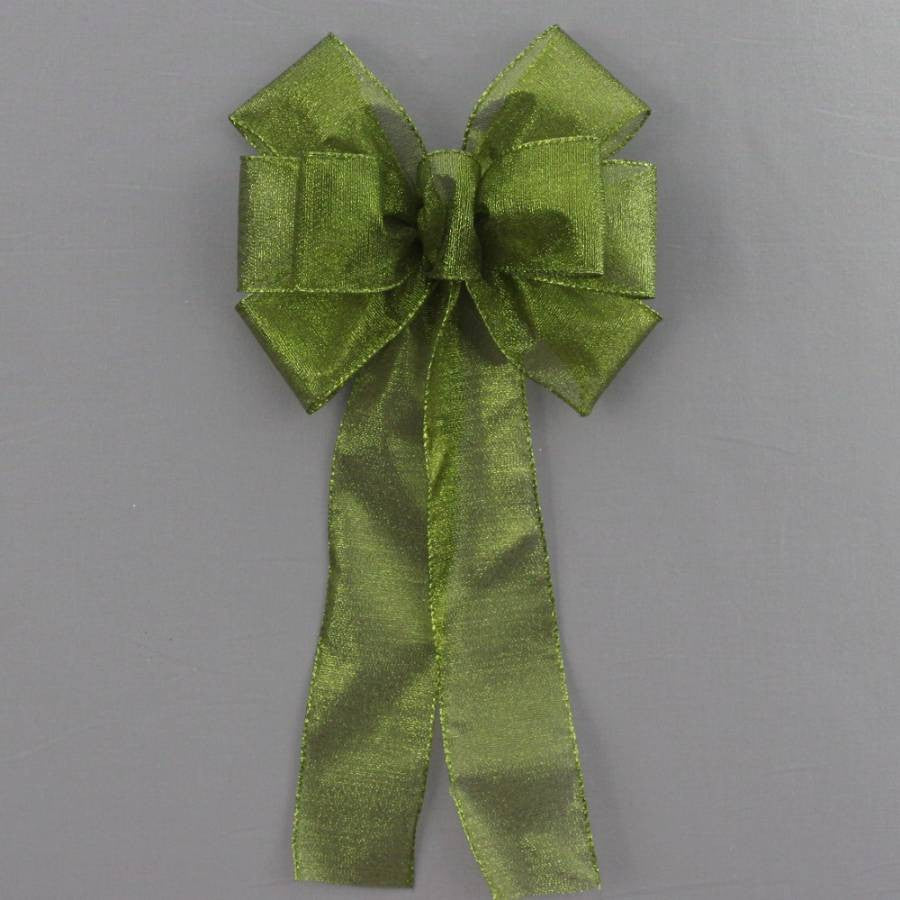 Moss Green Metallic Fall Halloween Bow - Package Perfect Bows - 2