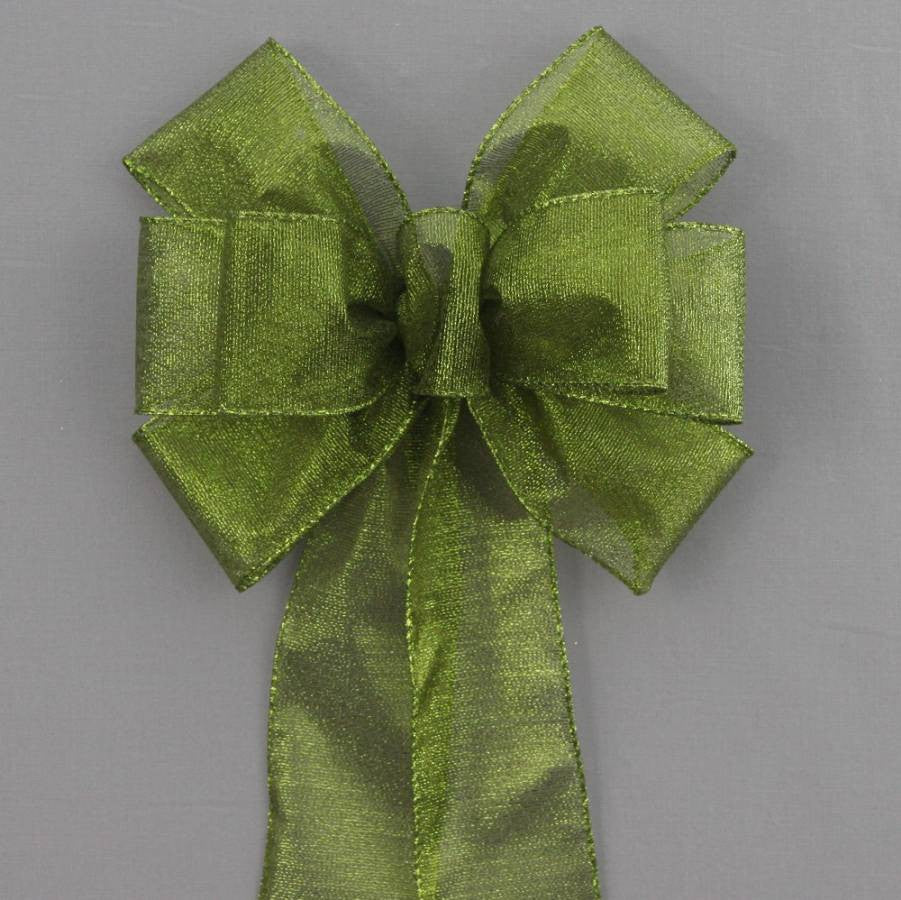 Moss Green Metallic Fall Halloween Bow - Package Perfect Bows - 1