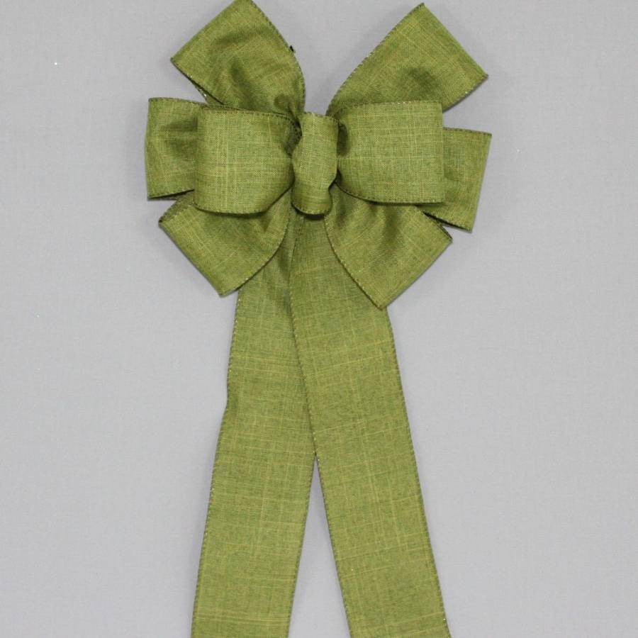 Moss Green Rustic Fall Wreath Bow - Package Perfect Bows - 2