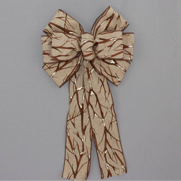 Snowy Branches Rustic Christmas Wreath Bow - Package Perfect Bows - 1