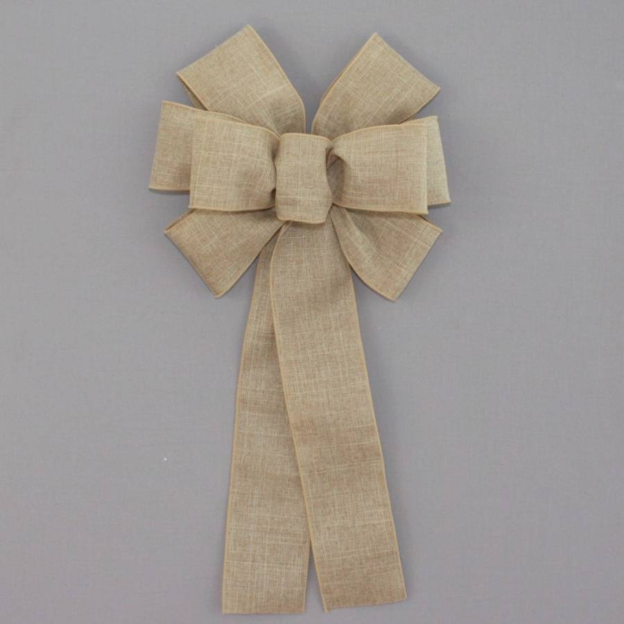 Natural Rustic Linen Wreath Bow - Package Perfect Bows