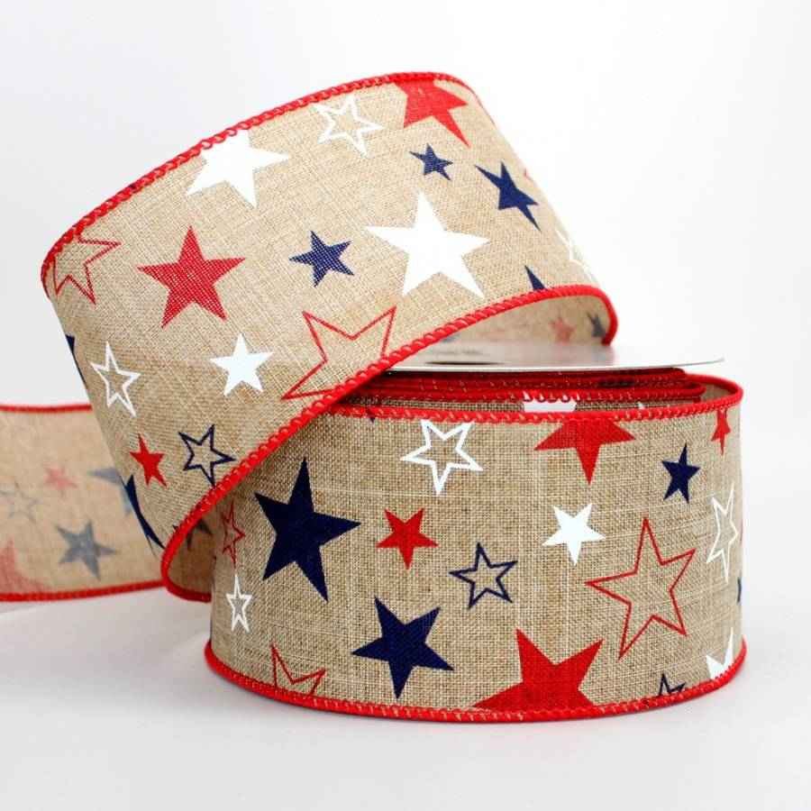 "2.5"" Patriotic Star Natural Wire Edge Ribbon (10 Yards) - Package Perfect Bows"