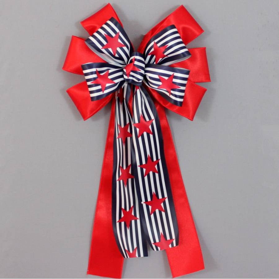Navy Stripe and Star Patriotic Bow - Package Perfect Bows - 2