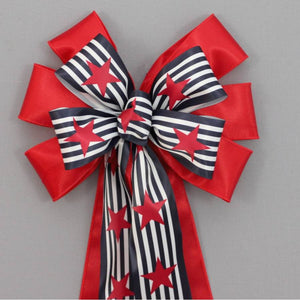 Navy Stripe and Star Patriotic Bow - Package Perfect Bows - 1