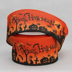 "2.5"" Haunted Scene Halloween Linen Wire Edge Ribbon (10 Yards) - Package Perfect Bows - 2"