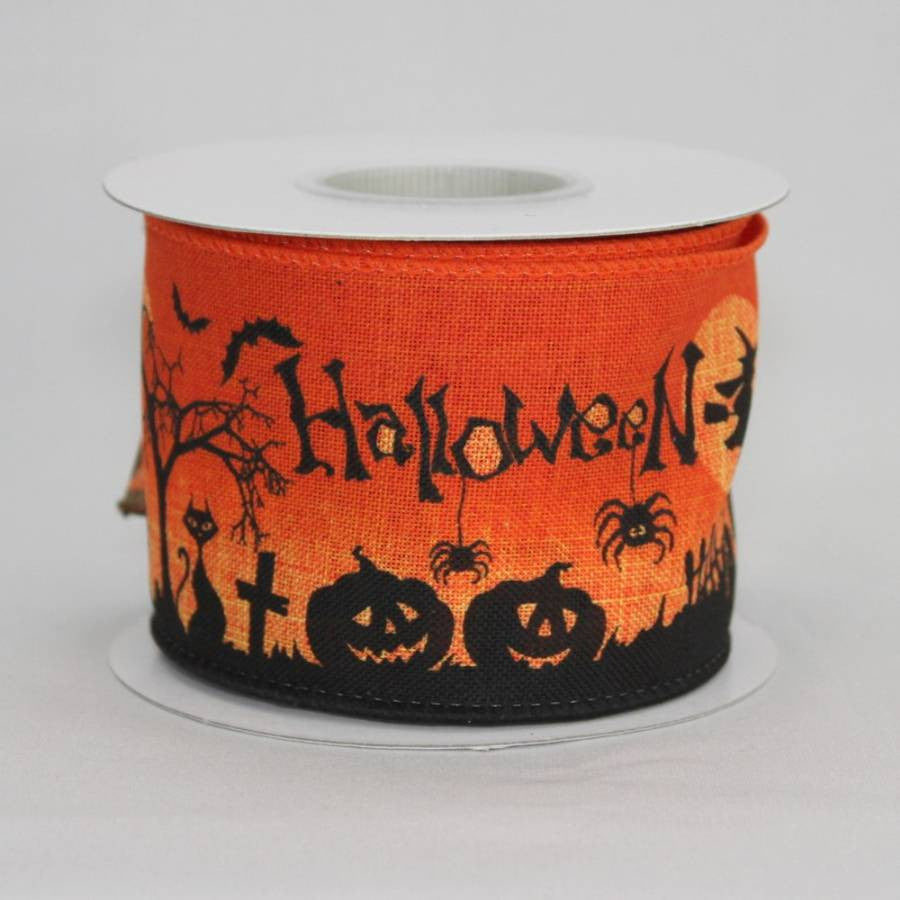 "2.5"" Haunted Scene Halloween Linen Wire Edge Ribbon (10 Yards) - Package Perfect Bows - 3"