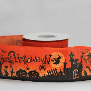 "2.5"" Haunted Scene Halloween Linen Wire Edge Ribbon (10 Yards) - Package Perfect Bows - 1"