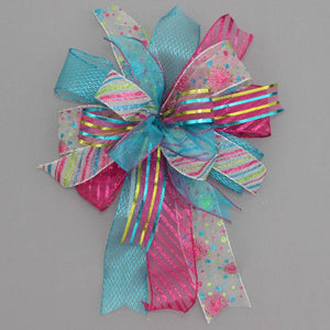 Funky Turquoise Fuchsia Christmas Bow - Package Perfect Bows