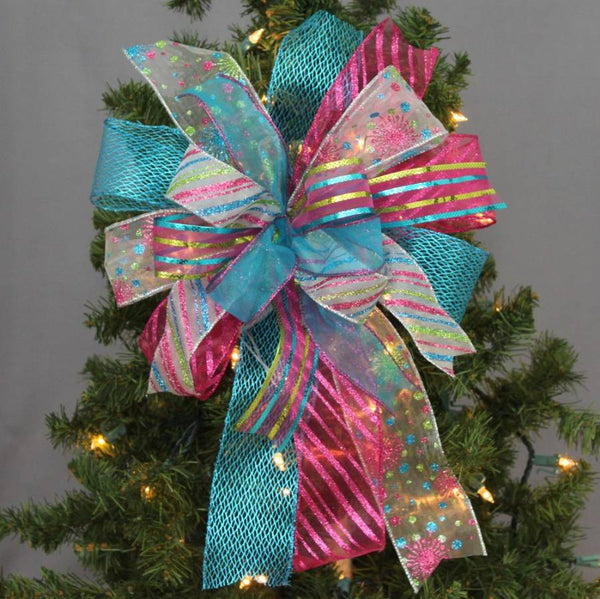 Funky Turquoise Fuchsia Christmas Bow - Package Perfect Bows - 1