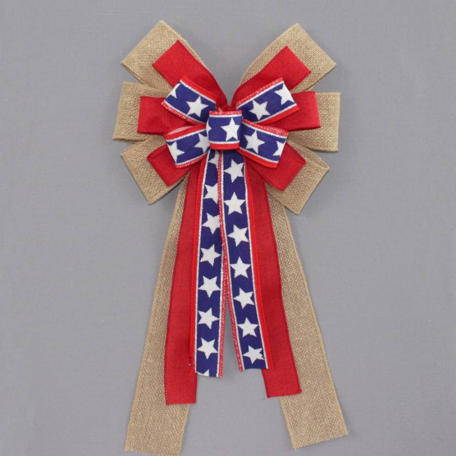 Patriotic Burlap Stars Wreath Bow