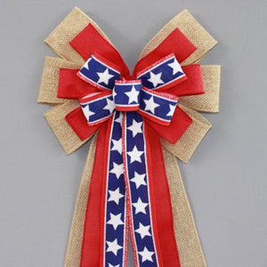 Patriotic Burlap Stars Wreath Bow - Package Perfect Bows