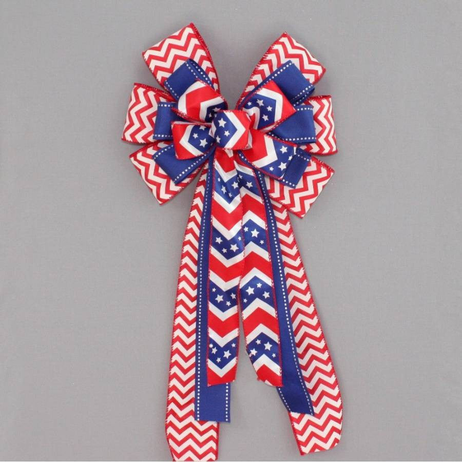 Patriotic Chevron Wreath Bow