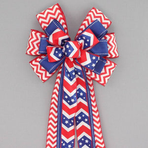 Patriotic Chevron Wreath Bow - Package Perfect Bows