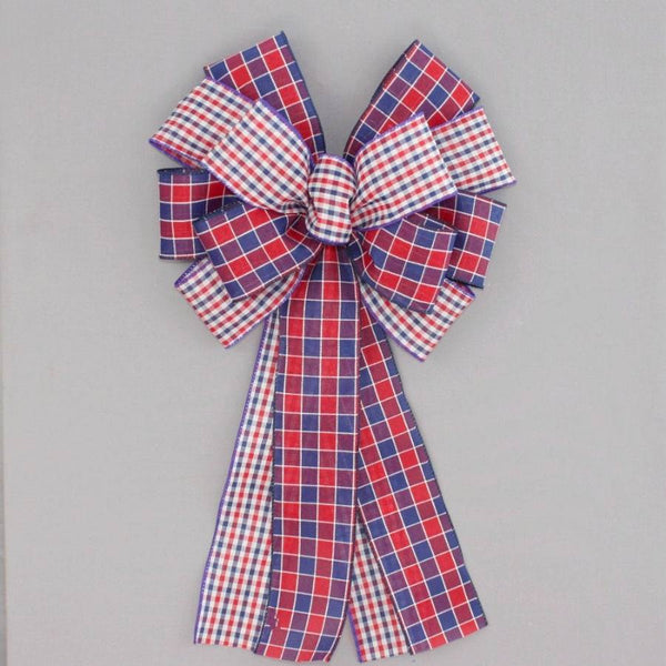 Patriotic Duo Plaid Wreath Bow