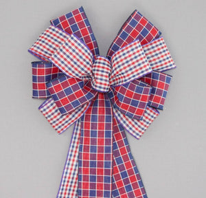 Patriotic Duo Plaid Wreath Bow - Package Perfect Bows