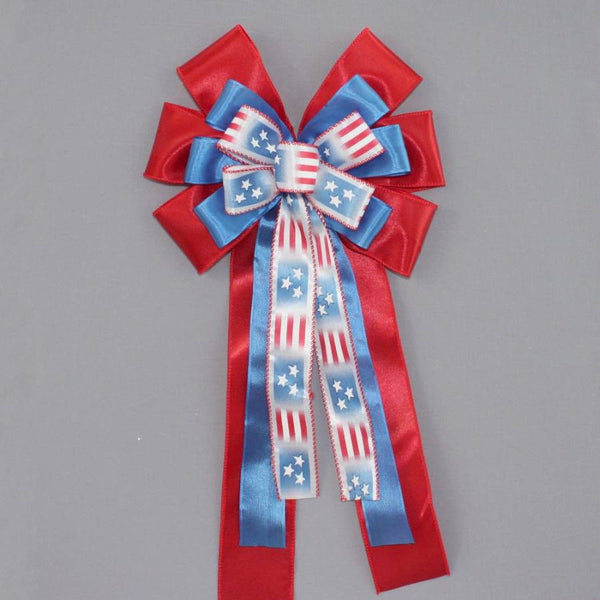 Patriotic Flag Stripe Wreath Bow
