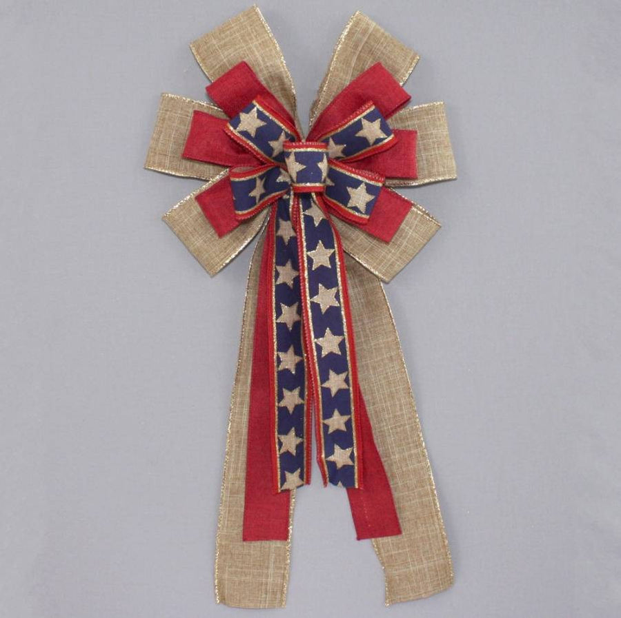 Patriotic Rustic Stars Wreath Bow - Package Perfect Bows