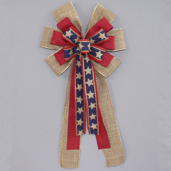 Patriotic Rustic Stars Wreath Bow