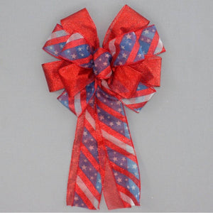 Patriotic Metallic Stars Stripe Wreath Bow - Package Perfect Bows